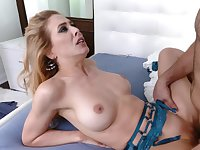 Blonde babe Cherie DeVille gets fucked in the bed
