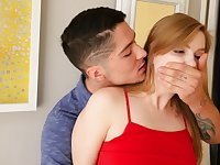 Raunchy stepbrother fucks pretty girl with red hair from behind