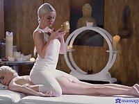 Sexy blonde chick Lovita Fate massages pussy of Mia Casanova