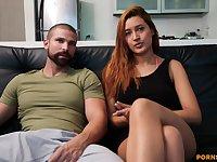 Amateur couple enjoys having passionate sex on the leather sofa