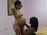 Pregnant sluts use double sided dildo to fuck each other. HD