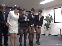 Wild office orgy with a lot of Japanese babes who crave for fucking