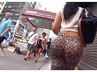 Hot Brunette Bubble Butt In Leopard Leggings