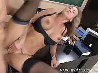 Caucasian Brandi Love fucking in the classroom with her tits