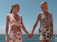 Impeccable outdoor lezzie fun between two sexy blondes