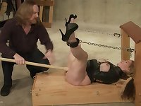 Blonde MILF in leather tied up, tortured with wax and fucked
