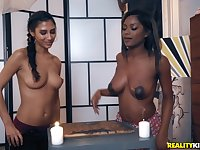 Gorgeous mature lesbian couple Gianna Dior and Evi Rei have fun