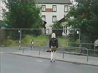 Hot blonde German prostitute fucks stranger in public toilet