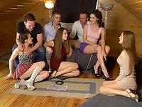 Ruth Folwer & Izi Ashley & Sabrina M & Eva Shanti in hot student girls share big dicks between them