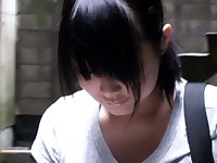 Puffy nippled Asian cutie stalked by a down blouse voyeur