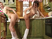 Sexy lesbo tryout in the kitchen with Anabelle and Morgan R