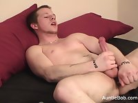 Adam is in front of Auntie Bobs camera for another homemade amateur jerk off video.