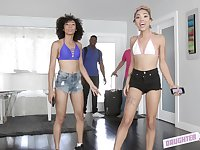 Interracial foursome with Xianna Hill and Nia Nixon sharing cum