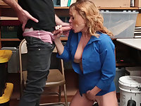 Big Bust security guard chick fucks a lucky shoplifter guy