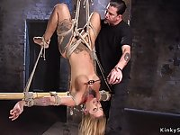 Huge hooters alt blond hair girl toyed in hogtie