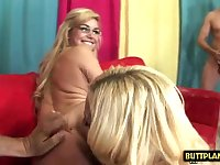 Hotness porn babe 3some and jizz swap