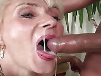 Retro lush blonde granny loves vintage interracial hardcore fuck with young guy