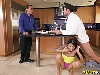 Brunette Sadie Pop sucked the cook Charles Dera's dick and then he fucked her