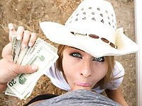Stranded blond hair girl cowgirl blowing chopper for money