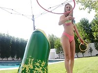 Athena Faris rides a big fat dick at the pool side outdoors