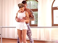 Petite ballerina Gina Gerson gives her head and gets her muff rammed