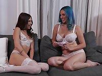 Lesbians Jelena Jensen and Riley Reid take off their underwear