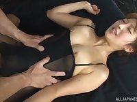 Japanese brunette babe Mizukawa Sumire fucked from behind in stockings