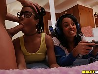 Ebony slutty babes Anya Ivy and Kira Noir take turns riding cock