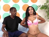 Petite Latina Rayna Reyes choked while getting fucked by a black guy