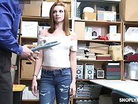 Shoplifting chick Jaycee Starr gets her pussy and mouth punished