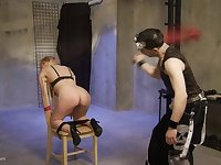 Blonde teen tied to a chair gets a forced pussy orgasm and a spanking