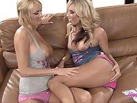 Blonde lesbian finger banging between busty ladies