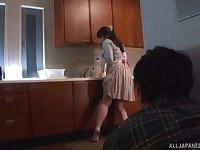 Chubby mature Asian MILF Yurai Chitose masturbates and fucks