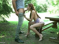 Ginger teen Vanna Bardot is sucking and riding a dick in the garden
