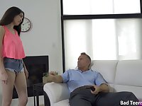 Nice brunette Jericha Jem gets her ass spanked and fucked by strict stepdad