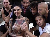Hardcore pornstar massive orgy party with Megan Inky and her sluts
