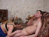 Horny cougar Sandra seduces a hot fellow for a sex session