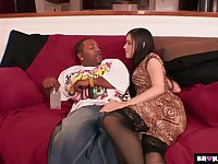 White hooker Mina Leigh tries to cope with king size black dong