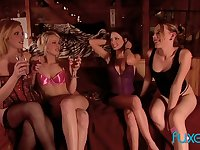 Several lesbian girlfriends arrange crazy orgy after birthday party