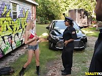 Cute blonde babe Carolina Sweets taken and fucked by a police officer