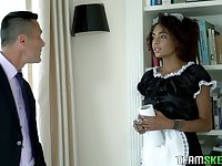 Ebony maid in sexy uniform Luna Corazon polishes hard dick and gets laid