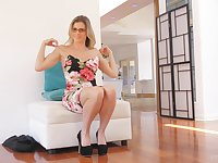 Solo blonde babe with glasses Cory masturbates at her house