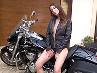 Kinky biker babe Caroline Ardolino desires to pet her twat in sensual mode