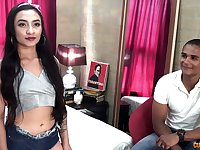 Colombian chick Julieth Timote is having crazy quickie with one mixed race guy