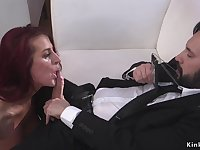 Cop fucks large-breasted redhead in bdsm doggy style