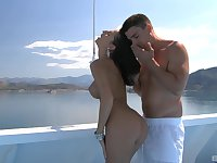 Hardcore doggy style and a cumshot on a boat for MILF Kortney Kane