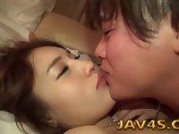 Asian cutie Ria Sakurai fucked by her boyfriend in bed