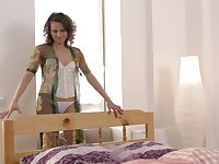 Housewife in stockings Princess Mustang is toying her ugly hairy snatch