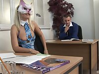 Blonde masked whore double penetrated in an office threesome