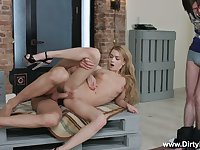 Tied up useless BF can only watch the way lusty GF Sonya Sweet rides dick
